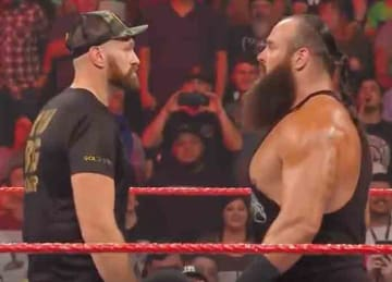 Boxing champion Tyson Fury and Brawn Stroman face off at WWE RAW