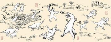 上田みゆきさんが描いた恐竜人物戯画の手ぬぐい。人気を集め、すでに完売している
