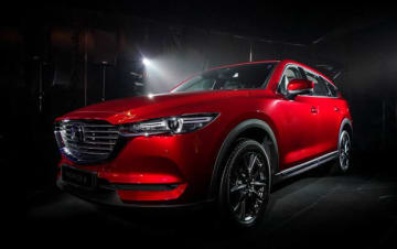One of the CX-8 SUVs, which Mazda Motor has started producing in Malaysia on an assembly basis, is shown in a photo taken on Oct. 1 in the state of Kedah. (Photo courtesy of Mazda Motor Corp.)