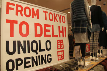 Japanese casual fashion chain Uniqlo's first Indian store in New Delhi carries a full lineup of apparel products for men, women, children and babies, as shown in this photo taken on Oct. 3, 2019. (NNA/Kyodo)