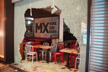 Maxim's MX Take, Eat, Easy store vandalised on October 1. Photo: inmediahk.net.