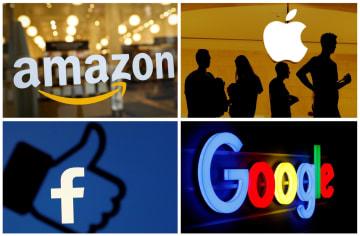左上から時計回りに、アマゾン・コム、アップル、グーグル、フェイスブック各社のロゴマーク(ロイター=共同)