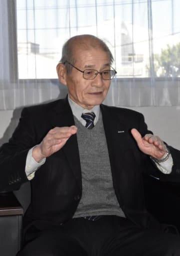 「リチウムイオン電池の半分は延岡で生まれた」と語る吉野彰さん=1月17日、延岡市・旭有機材