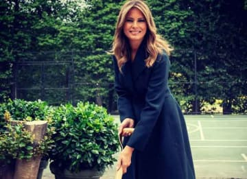 Melania Trump Breaks Ground On New White House Tennis Pavilion [Photos]