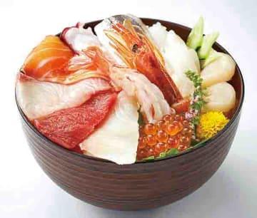 海の幸てんこもり「海鮮丼」。写真は「北海道フェア限定海鮮丼セット10種(798円税別)の一例(イオンリテール提供)