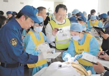 歯の特徴を確認し、情報を記録する参加者