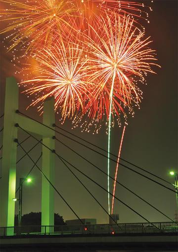 森永橋方面から見た花火(写真は過去)