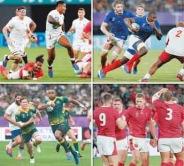 (左上から時計回りに)大分で準々決勝を戦うイングランド、フランス、ウェールズ、オーストラリア