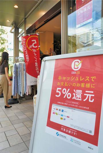 ポイント還元対応のポスター、のぼりを掲げる物販店(登戸)