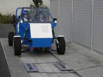走行中ワイヤレス給電インホイールモーターを搭載した実車での走行デモ