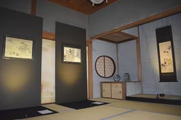 12日から特別公開される比叡山延暦寺の「大書院」。「ゲゲゲの鬼太郎と比叡山の七不思議展」の日本画なども展示される=11日午前、大津市
