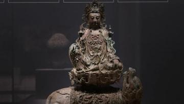 金メッキが施された銅製の観音菩薩像 寧夏博物館