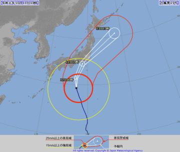 台風19号の進路予想図=10月11日午後6時現在(気象庁HPから)