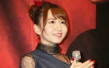 映画「地獄少女」の完成披露試写会に登場した「SKE48」の大場美奈さん