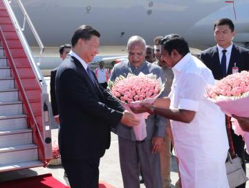 習近平主席、インド到着 モディ首相と第2回中印非公式首脳会談へ
