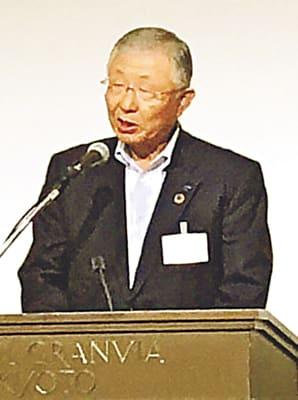 総会で意見発表する久和会長=京都市