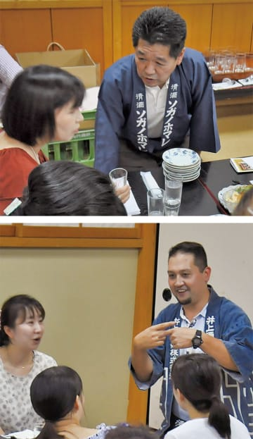 参加者に説明をする石井社長(上)と井上さん