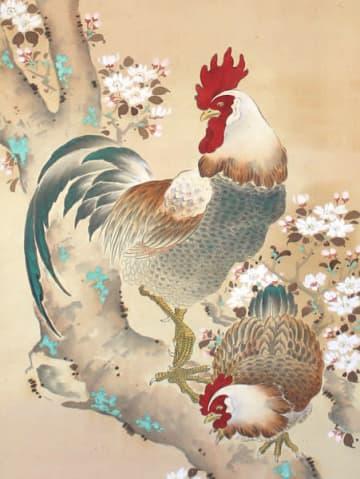 【「玉城町ゆかりの近代の芸術家3人展」で展示される川口呉川の「神鶏図」(南勢愛好会提供)】