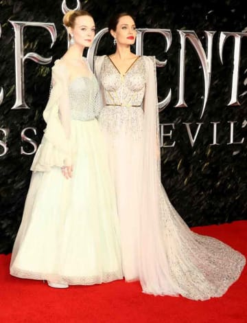 Elle Fanning & Angelina Jolie At European Premiere Of 'Maleficent: Mistress Of Evil'
