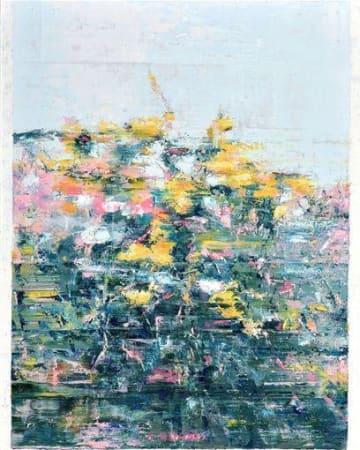 熊日大賞に選ばれた中島知宏さんの油彩「草花」