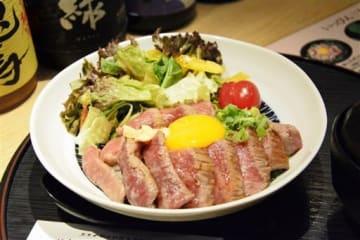 ロース肉をふんだんに使った「天草黒毛和牛ステーキ丼」