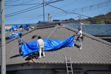 壊れた屋根をブルーシートで覆う職人ら=13日午前11時25分ごろ、館山市布良