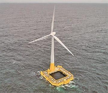 イデオルの特許技術「ダンピングプール」を使ったコンクリート製の浮体式洋上風力発電設備