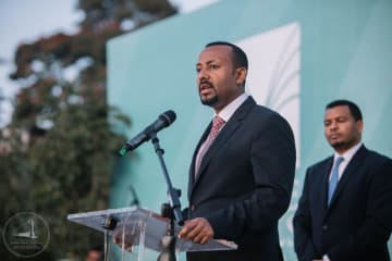 PM Abiy Ahmed at an inauguration event in Addis Ababa, November 19, 2018. Flickr photo by Aron Simeneh (CC0)