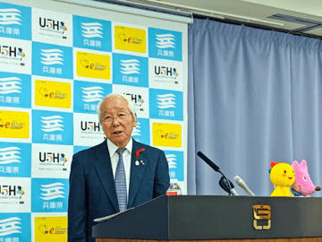 記者会見で説明する兵庫県・井戸敏三知事(写真:ラジオ関西)