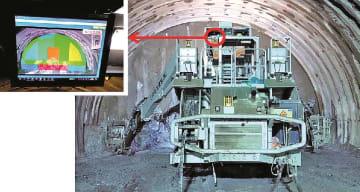 ドリルジャンボと適正火薬量がリアルタイム表示された搭載モニター