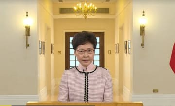 Chief Executive Carrie Lam delivers her televised 2019 Policy Address. Photo: Screenshot.