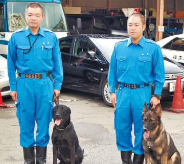 (左から)上野警部補、ゼブラ号、濱野巡査部長、ユパ号