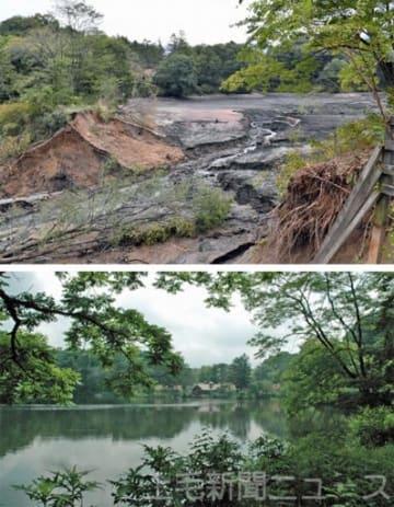 (上)湖底があらわになった照月湖(17日午後)、(下)水をたたえた状態(2009年撮影)=長野原町北軽井沢