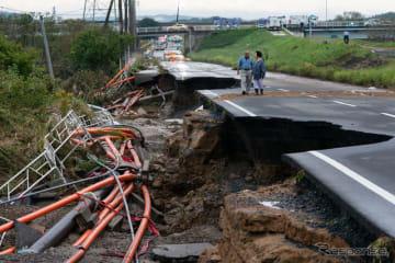 台風19号の被災状況(10月15日、茨城県水戸市)