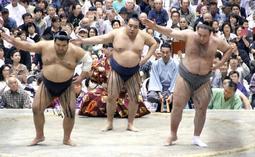 土俵に上がる鶴竜関(中央)ら=姫路市西延末