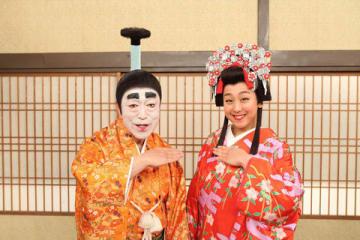 特別番組「志村けんのバカ殿様」に出演する浅田真央さん(右)と志村けんさん(C)フジテレビ
