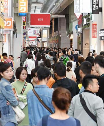 韓国からの来阪は減少傾向だが、このほかの地域は順調に推移し来阪インバウンドは過去最多を記録=21日、大阪市中央区
