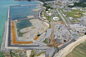 埋め立てが進む沖縄県名護市辺野古の沿岸部=9月24日