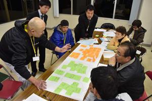 南郷町活性化に向けてさまざまな意見が出されたワークショップ