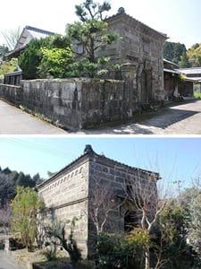 国の有形文化財に登録された松浦家住宅(上)と土器屋家住宅の石蔵